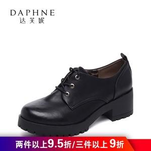 Daphne/达芙妮复古英伦学院风圆头系带粗中跟深口单鞋1516101030