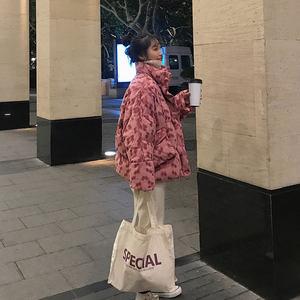 羽绒<span class=H>棉衣</span>女短款面包服2018新款韩版小个子chic棉服波点丝绒棉袄潮