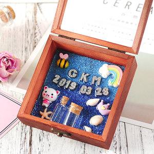 宝宝胎毛纪念品diy新生儿胎发收藏盒保存婴儿乳牙脐带收藏瓶自制