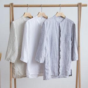 复古中国风夏季薄款立领亚麻<span class=H>衬衫</span>男七分袖宽松大码休闲棉麻衬衣潮