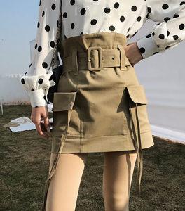 2018春夏新款女ins超火的腰带花苞半身裙港味复古包臀高腰短裙子