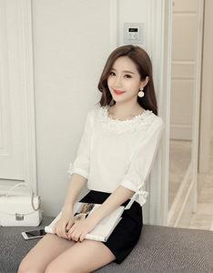 白色雪纺衫女长袖小衫衬衫韩范2018新款夏洋气雪纺<span class=H>上衣</span>中袖七分袖