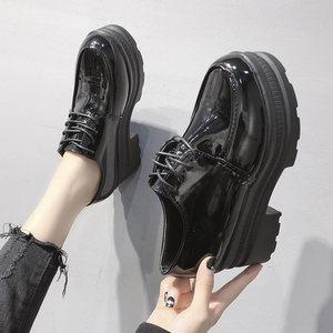 ins小皮鞋女2019春季新款漆皮增高松糕底鞋厚底复古高跟粗跟<span class=H>单鞋</span>