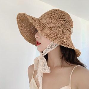 帽子女夏天编织<span class=H>草帽</span>宽檐可折叠网红遮阳帽百搭大沿帽防晒太阳帽