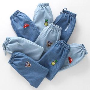 男童牛仔防蚊裤薄款夏季卡通夏天透气卡通中童小童空调裤儿童长裤