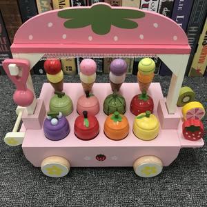 仿真冰淇淋甜筒雪糕机冰激凌车儿童过家家木制<span class=H>玩具</span>男女孩生日礼物