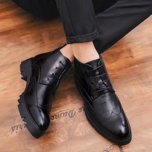 商务休闲<span class=H>皮鞋</span>保暖秋<span class=H>冬季</span><span class=H>男</span>真皮布洛克鞋韩版复古高帮<span class=H>男</span>鞋<span class=H>厚底</span>鞋潮
