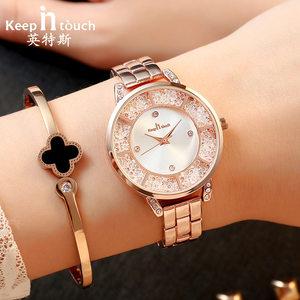 手表女士金色气质手链表 韩版休闲时尚潮流带钻防水学生石英表