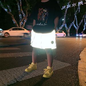 2019夏季新款童装 饭小范自制儿童亲子反光短裤中大童五分裤潮