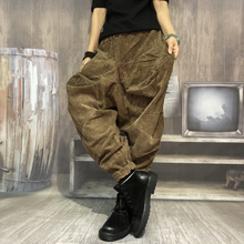 Spring 2019 New Pure Corduroy Radish Pants with Loose Size, Thicker Heating Individual Pants with Loose Waist