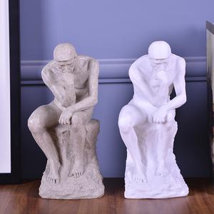 包邮思想<span class=H>者</span>思考艺术品工艺品家居装饰品<span class=H>雕塑</span>砂色白色人物创意摆件