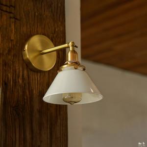 軸年 复古北欧简约日式床头黄铜<span class=H>壁灯</span>简约卫生间浴室画玻璃镜前灯