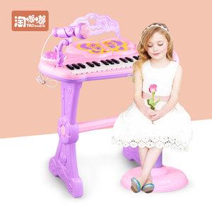儿童<span class=H>电子琴</span>宝宝益智小孩多功能钢琴女孩音乐玩具礼物带麦克风凳子