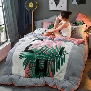 珊瑚绒四件套加厚冬季保暖加绒法兰绒双人<span class=H>床上</span>被套法莱绒床单床笠