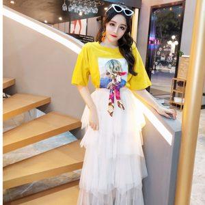 2019春季新款时尚短袖<span class=H>t恤</span>+不规则网纱<span class=H>蛋糕裙</span>御姐两件套装初春女潮