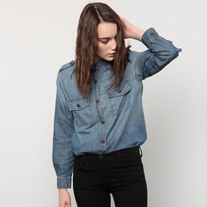 2018新款欧美宽松牛仔<span class=H>衬衫</span>女短款春季薄款长袖水洗衬衣bf风牛仔衣