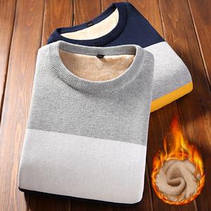 纯棉男士长袖T恤加绒加厚圆领条纹打底衫韩版修身保暖毛衣衣服潮
