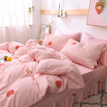 Four sets of cotton pure cotton net red girl heart Quilt Set bed sheet Princess wind girl children three sets 4