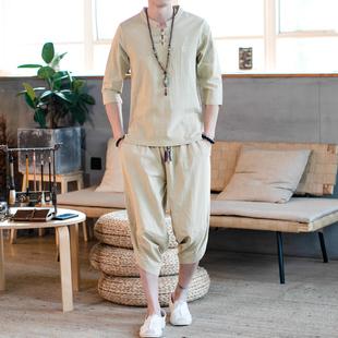唐裝中國風亞麻棉麻衣套裝民族復古風服裝漢服男古風男士仙氣古裝