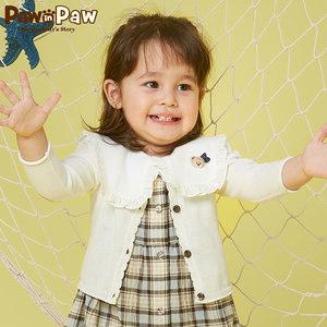Pawinpaw卡通小熊童裝夏款嬰幼兒女寶寶純棉針織<span class=H>開衫</span>