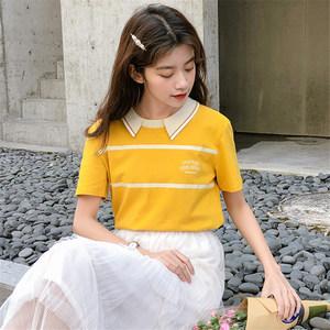 娃娃领字母短袖<span class=H>t恤</span>女2019新款夏装韩版学生印花条纹撞色上衣ins潮