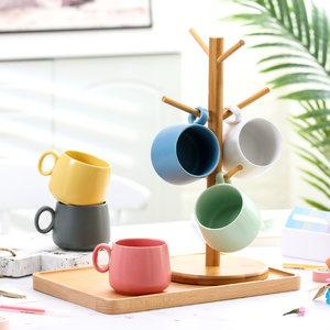 北欧哑光咖啡杯陶瓷马克杯办公室家用牛奶<span class=H>水杯</span>马卡龙色<span class=H>大肚杯</span>套装