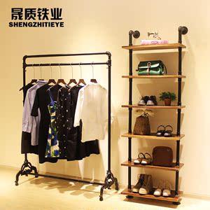 新款女服装店衣架展示架上墙置物架<span class=H>鞋子</span><span class=H>包包</span>展示架复古实木落地式