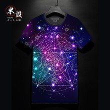 Star constellation magic array short-sleeved t-shirt men Korean version of self-cultivation round-collar teenager student fashion leisure t-shirt men