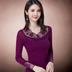 性感紫色网纱上衣长袖女2018新款女士<span class=H>秋衣</span>外穿韩版蕾丝内衬打底衫