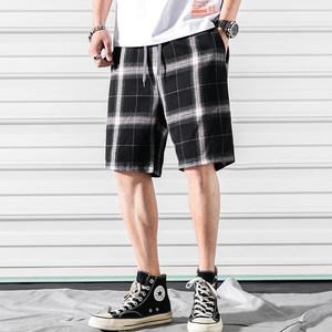 短裤男夏天五分裤格子休闲裤宽松居家潮流大裤衩男士海边<span class=H>沙滩</span>裤薄