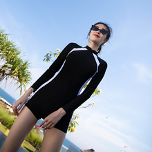 New style swimsuit for women in professional sport, long sleeve hot spring swimsuit with flat angle conservative and slim belly-covering diving