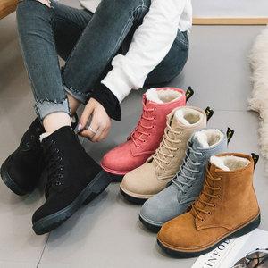 冬季加绒加厚新款雪地靴<span class=H>女</span>平跟保暖棉鞋韩版学生短筒系带马丁<span class=H>靴子</span>