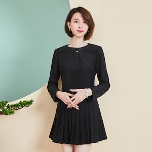 青亦<span class=H>连衣裙</span>冬季2018新款羊毛呢长袖修身圆领纯色黑色打底裙