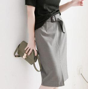 通勤易搭 立体剪裁好版型迷你千鸟格纹附腰带前开叉半身裙