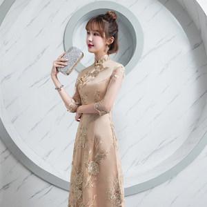<span class=H>旗袍</span>2018新款改良中国风日常少女祺袍裙金色优雅修身中长款女冬装