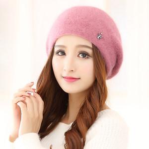 <span class=H>帽子</span>女冬季韩版针织毛线帽冬天女士加绒加厚保暖护耳兔毛帽贝雷帽