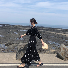 Summer 2019 New Korean Version Loose Bf Long Skirt After 00 Super Fairy pphome Skirt Closed Waist Cold Wind Dress