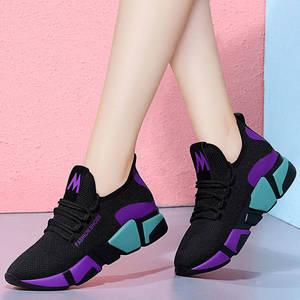 27春季韩版时尚百搭女鞋跑步运动鞋网红轻便休闲鞋防滑软底单鞋
