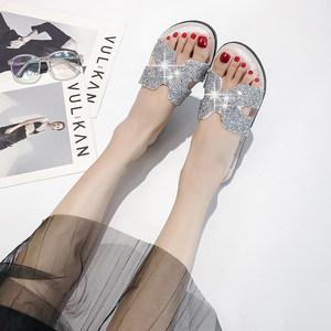女式凉<span class=H>拖鞋</span>2019夏季新款松糕底百搭时尚高跟外穿水钻带钻一字<span class=H>拖鞋</span>