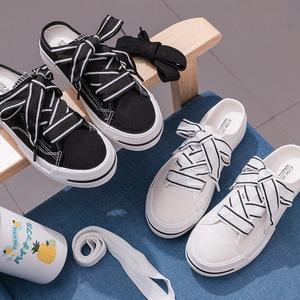 2019夏季新款小白<span class=H>女鞋</span>韩版百搭白鞋学生布鞋ins街拍超火帆布半拖