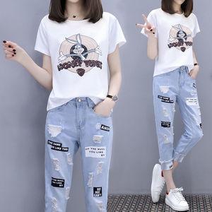 夏新款韩版印花T恤+破洞牛仔裤套装