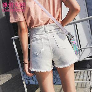 网红同款白色牛仔短裤女夏2018新款显瘦高腰时尚韩版宽松学生百搭