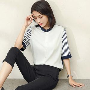 短袖衬衣女2019夏季新款立领五分袖撞色上衣竖条纹显瘦雪纺<span class=H>衬衫</span>潮