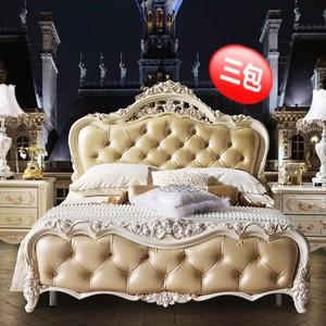 欧式1.8米1.5米双人床板式雕花婚床法式实木真皮床高箱低箱床特价
