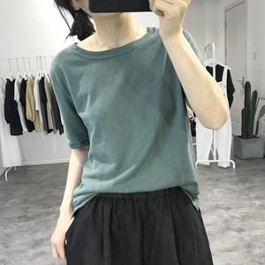 亚麻短袖白色t恤女式夏季宽松显瘦韩国纯色简单透气圆领薄款<span class=H>上衣</span>