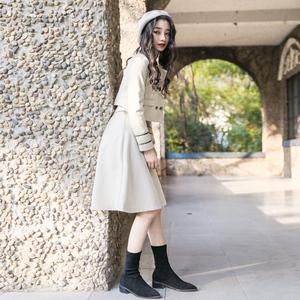 秋装初秋新款复古俏皮学院风套装女港风小外套时尚高腰半裙<span class=H>两件套</span>