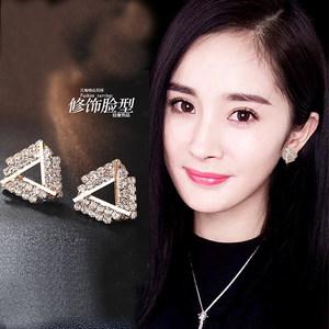 韩国三角纯银欧美简单满钻菱形超仙气质个性百搭潮人<span class=H>耳钉</span>耳环女