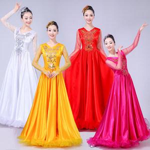 开场舞<span class=H>大摆裙</span><span class=H>演出服</span>新款民族舞蹈服装女成人伴舞现代舞合唱服长裙