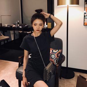 南夕姐姐 黑色性感连衣裙夏天2019流行女装新款高腰包臀打底T恤裙