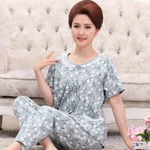 Summer cotton short sleeve suit for middle-aged and old women in pajamas